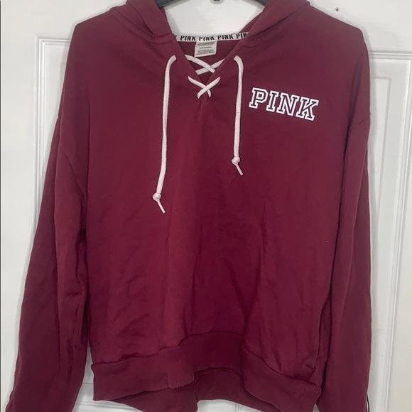 PINK Jackets & Blazers - PINK burgundy semi crop hoodie